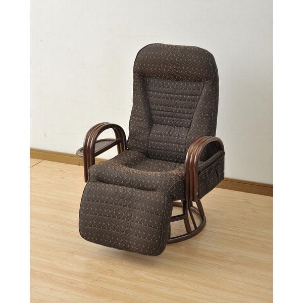 YAMAZEN(山善) オットマン付き回転座椅子 ダークブラウン 1脚 SFC-65OT(KVC2/BR2) (直送品)