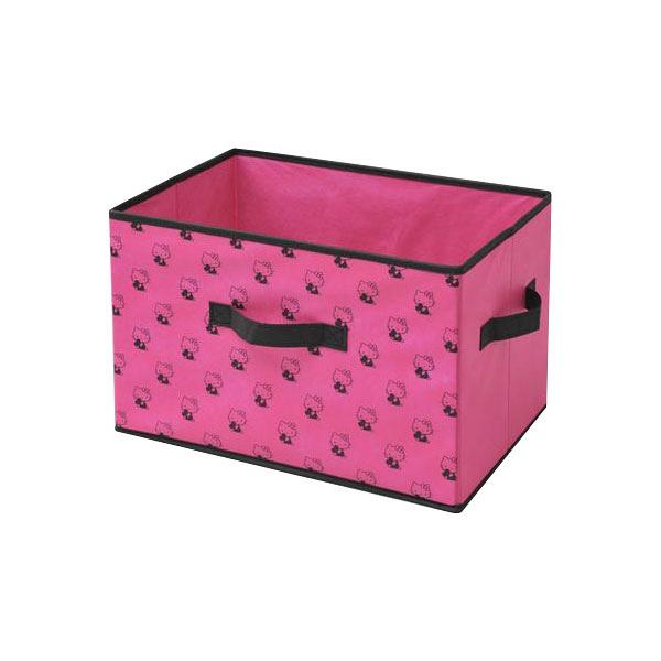 YAMAZEN(山善) キティどこでも収納ボックス ピンク/ブラック 1セット(3個入) (直送品)