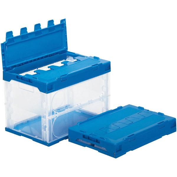 サンコー サンクレットオリコン 60B フタ一体型 59.5L 透明/ブルー (直送品)