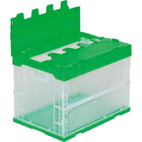 サンコー サンクレットオリコン 60B-D フタ一体型 59.5L 透明/グリーン (直送品)