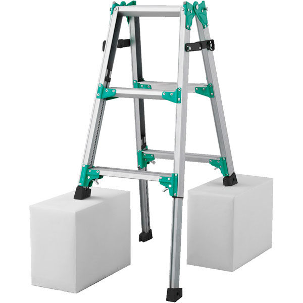 Hasegawa(長谷川工業) アルミ合金 はしご兼用脚立脚部伸縮式 3段 (3尺 103cm) RYZ1.0-09 1台 (直送品)