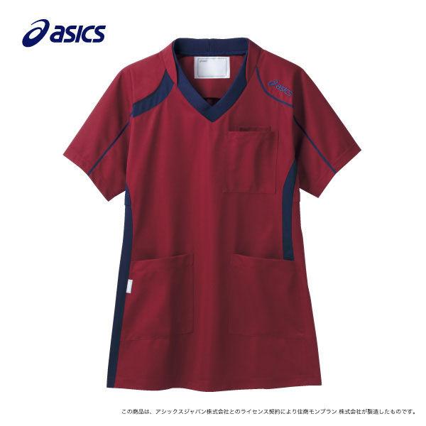 住商モンブラン アシックス スクラブジャケット(男女兼用) 半袖 ワイン×ネイビー L CHM301-0609 (直送品)