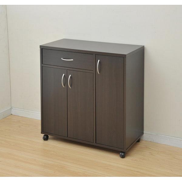 YAMAZEN(山善) キッチンカウンター 幅800×奥行390×高さ850mm ダークブラウン (直送品)