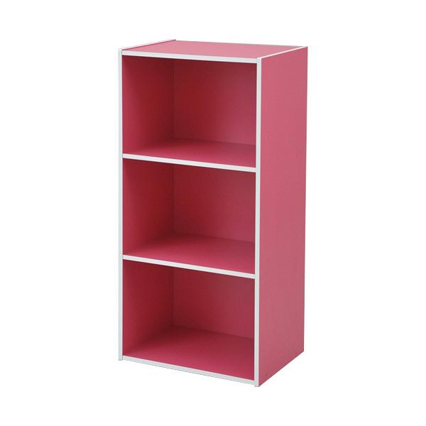 YAMAZEN(山善) カラーボックス3段 幅420×奥行290×高さ885mm ピンク (直送品)