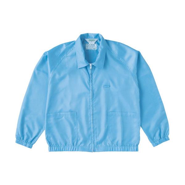 トラスコ中山(TRUSCO) TRUSCO 制電糸グリッド仕様ジャケット(衿付) ブルー L TCLGJ-B-L 1着 474-8531(直送品)