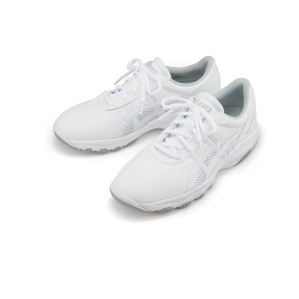 asics アシックス ナースウォーカー201 FMN201-0113 ホワイト×ライトグレー 24.5cm ナースシューズ(直送品)