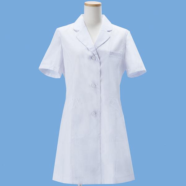 KAZEN タップレディス診察衣(ハーフ丈) 半袖 ホワイト シングル M AKL210HS-10 (直送品)