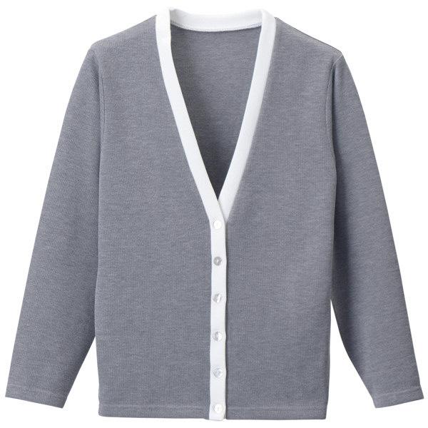 D-PHASE(ディーフェイズ) Vネックカーディガン(ツートンカラー) 女性用 長袖 グレー×ホワイト LL C04 (直送品)
