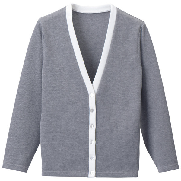 D-PHASE(ディーフェイズ) Vネックカーディガン(ツートンカラー) 女性用 長袖 グレー×ホワイト M C04 (直送品)