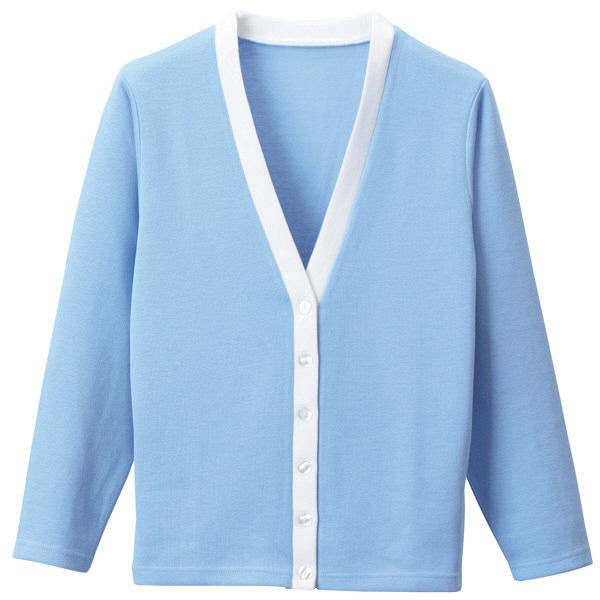 D-PHASE(ディーフェイズ) Vネックカーディガン(ツートンカラー) 女性用 長袖 サックス×ホワイト L C04 (直送品)