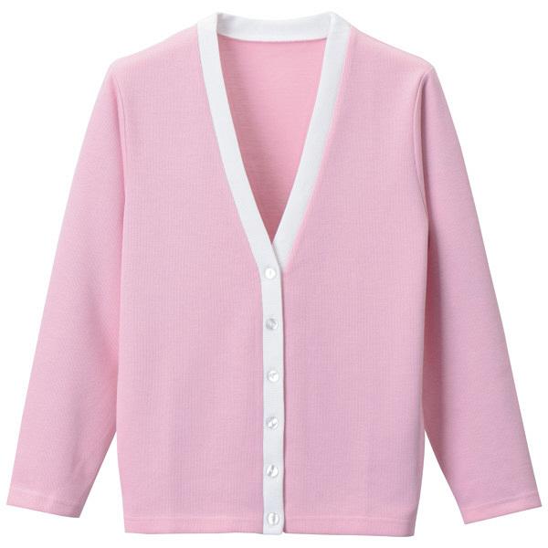 D-PHASE(ディーフェイズ) Vネックカーディガン(ツートンカラー) 女性用 長袖 ピンク×ホワイト LL C04 (直送品)