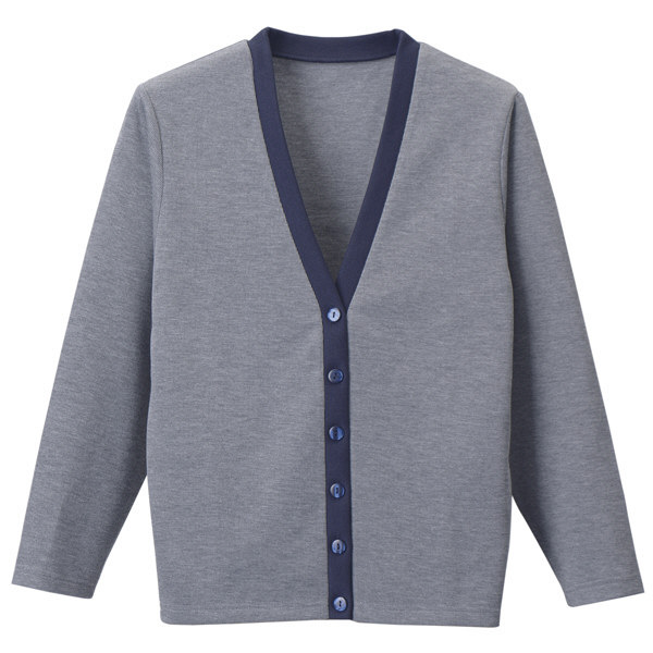 D-PHASE(ディーフェイズ) Vネックカーディガン(ツートンカラー) 女性用 長袖 グレー×ネイビー M C04 (直送品)