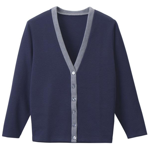 D-PHASE(ディーフェイズ) Vネックカーディガン(ツートンカラー) 女性用 長袖 ネイビー×グレー LL C04 (直送品)