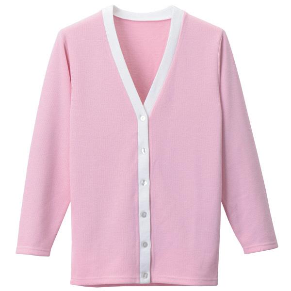 D-PHASE(ディーフェイズ) Vネックロング丈カーディガン(ツートンカラー) 女性用 長袖 ピンク×ホワイト LL C10 (直送品)