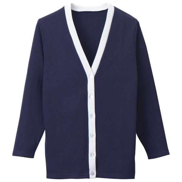 D-PHASE(ディーフェイズ) Vネックロング丈カーディガン(ツートンカラー) 女性用 長袖 ネイビー×ホワイト 3L C10 (直送品)