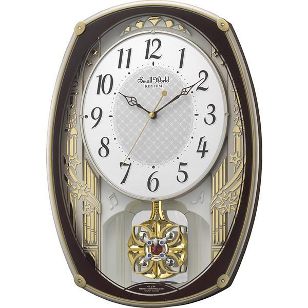 リズム時計(RHYTHM) スモールワールドレジーナ [電波 掛け 時計] 振り子、音楽 4MN540RH06 1個 (直送品)