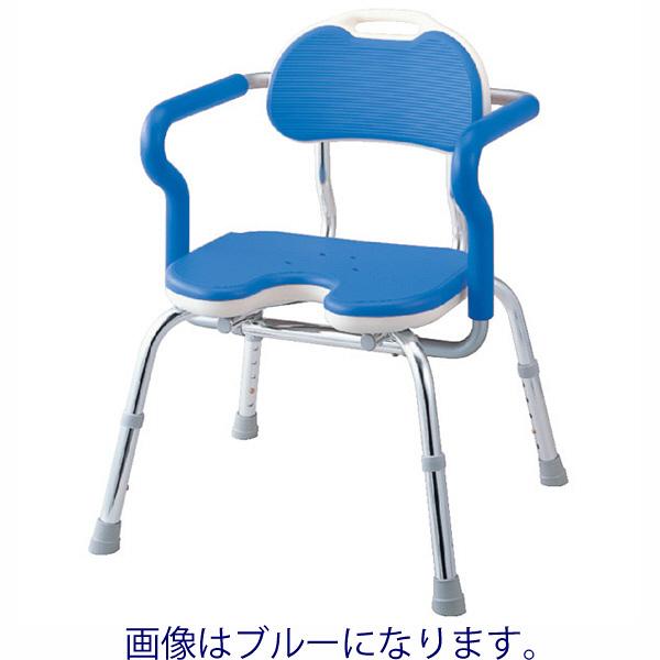 アロン化成 ひじ掛け付きシャワーベンチ RE-U(U型) キャスターなし レッド 536-232 1台 (直送品)