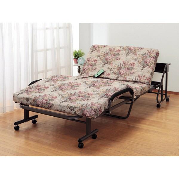 ファミリー・ライフ 木製棚付き収納式リクライニング電動ベッド 花柄 シングル (直送品)