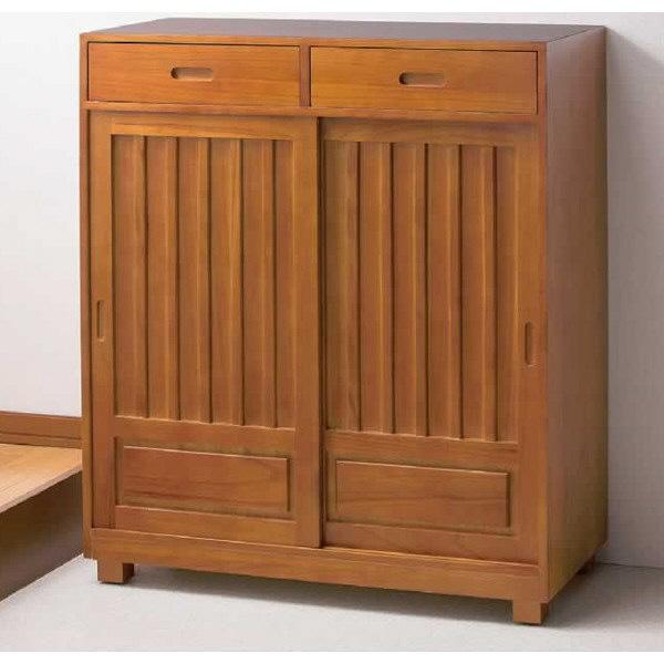 ファミリー・ライフ 木製和風引き戸シューズボックス 幅800mm ブラウン (直送品)