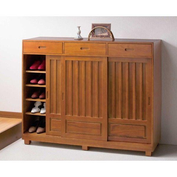 ファミリー・ライフ 木製和風引き戸シューズボックス 幅1150mm ブラウン (直送品)
