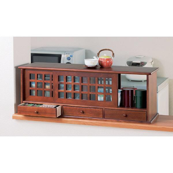 ファミリー・ライフ 木製引出付き両面引き戸カウンター上収納庫 幅900mm ブラウン (直送品)