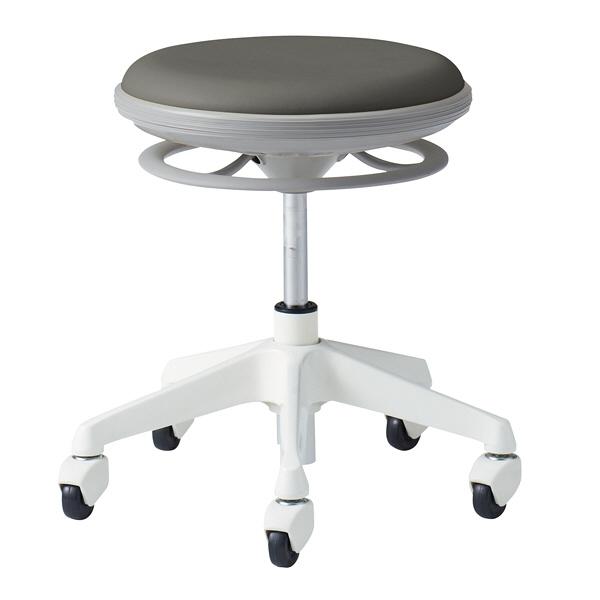 岡村製作所 ナーススツール CGタイプコンパクト脚タイプ 椅子 肘なし 背無 ゴムキャスター 座面回転 チャコールグレー L890CG-PB24 (直送品)
