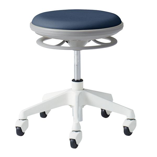 オカムラ ナーススツール CGタイプコンパクト脚タイプ 椅子 肘なし 背無 ゴムキャスター 座面回転 インディゴブルー L890CG-PB27 (直送品)