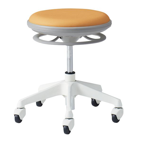 岡村製作所 ナーススツール CGタイプコンパクト脚タイプ 椅子 肘なし 背無 ゴムキャスター 座面回転 アプリコット L890CG-PB29 (直送品)