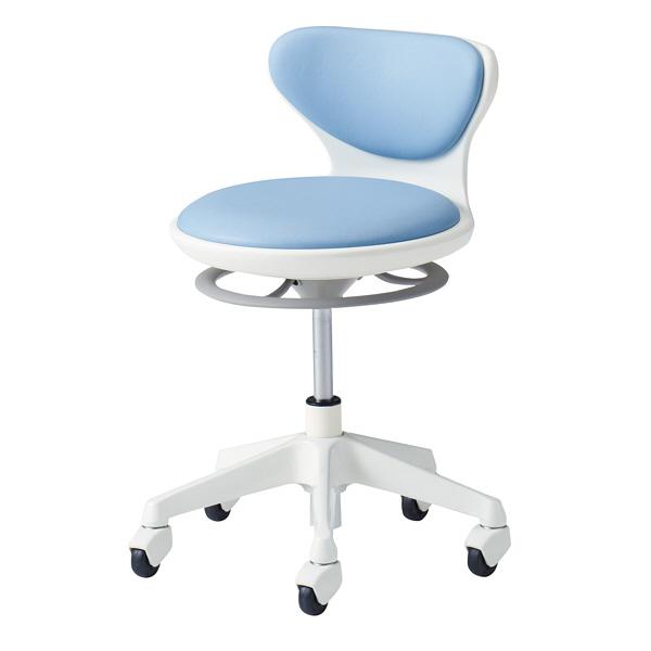 オカムラ ナーススツール WSタイプコンパクト脚タイプ 椅子 肘なし 背付 ゴムキャスター 座面回転 ライトブルー L890LG-PB21 (直送品)