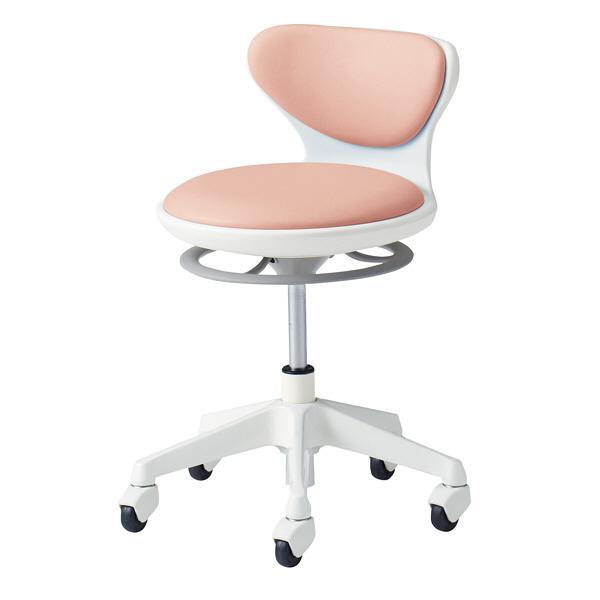 オカムラ ナーススツール WSタイプコンパクト脚タイプ 椅子 肘なし 背付 ゴムキャスター 座面回転 ローズ L890LG-PB23 (直送品)