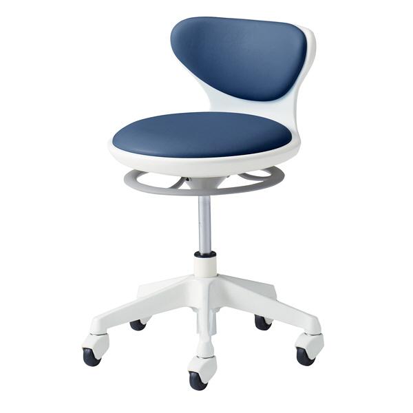 オカムラ ナーススツール WSタイプコンパクト脚タイプ 椅子 肘なし 背付 ゴムキャスター 座面回転 インディゴブルー L890LG-PB27 (直送品)