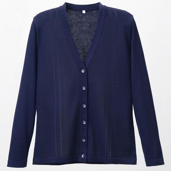 D-PHASE(ディーフェイズ) 綿混透かし編カーディガン 女性用 長袖 濃紺 LL D1009 (直送品)
