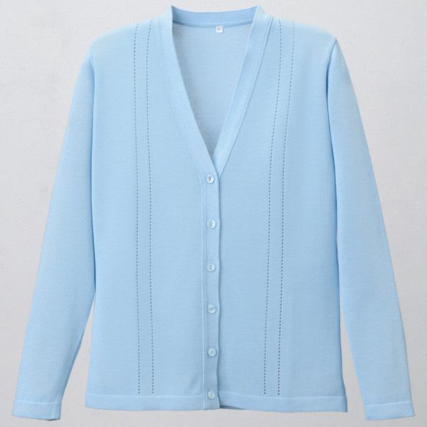 D-PHASE(ディーフェイズ) 綿混透かし編カーディガン 女性用 長袖 サックス LL D1009 (直送品)