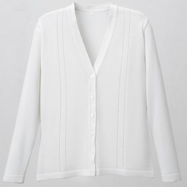 D-PHASE(ディーフェイズ) 綿混透かし編カーディガン 女性用 長袖 ホワイト M D1009 (直送品)