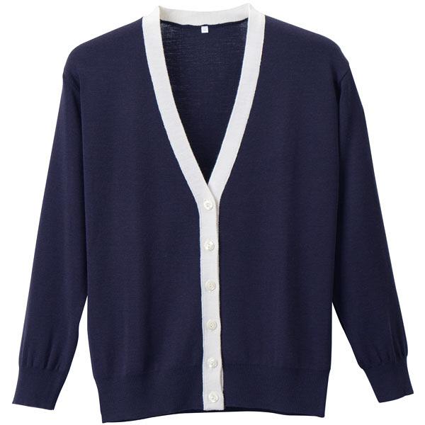 D-PHASE(ディーフェイズ) 抗ピル配色カーディガン 女性用 長袖 濃紺×ホワイト M D1013 (直送品)