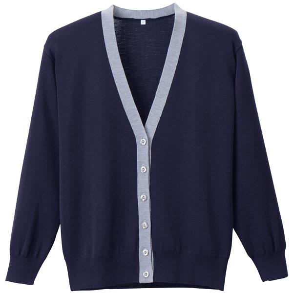 D-PHASE(ディーフェイズ) 抗ピル配色カーディガン 女性用 長袖 濃紺×杢グレー LL D1013 (直送品)