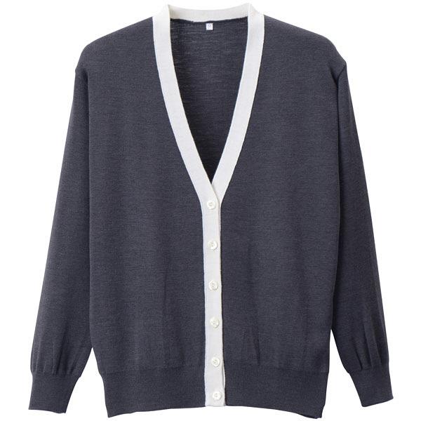 D-PHASE(ディーフェイズ) 抗ピル配色カーディガン 女性用 長袖 グレー×ホワイト S D1013 (直送品)