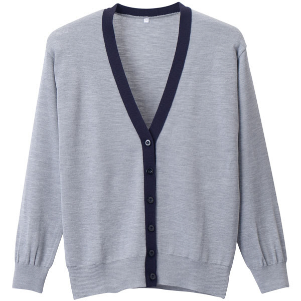 D-PHASE(ディーフェイズ) 抗ピル配色カーディガン 女性用 長袖 杢グレー×濃紺 LL D1013 (直送品)