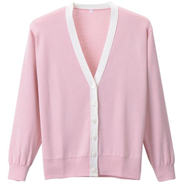 D-PHASE(ディーフェイズ) 抗ピル配色カーディガン 女性用 長袖 ピンク×ホワイト LL D1013 (直送品)