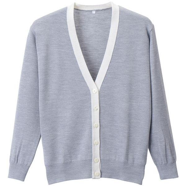 D-PHASE(ディーフェイズ) 抗ピル配色カーディガン 女性用 長袖 杢グレー×ホワイト M D1013 (直送品)