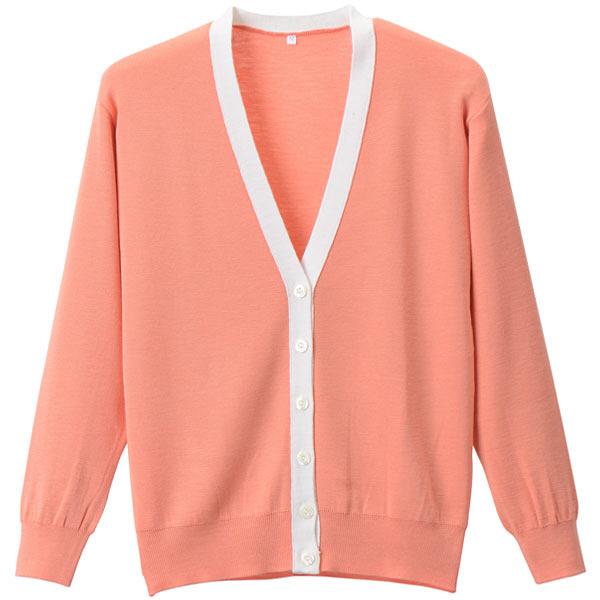 D-PHASE(ディーフェイズ) 抗ピル配色カーディガン 女性用 長袖 オレンジ×ホワイト L D1013 (直送品)
