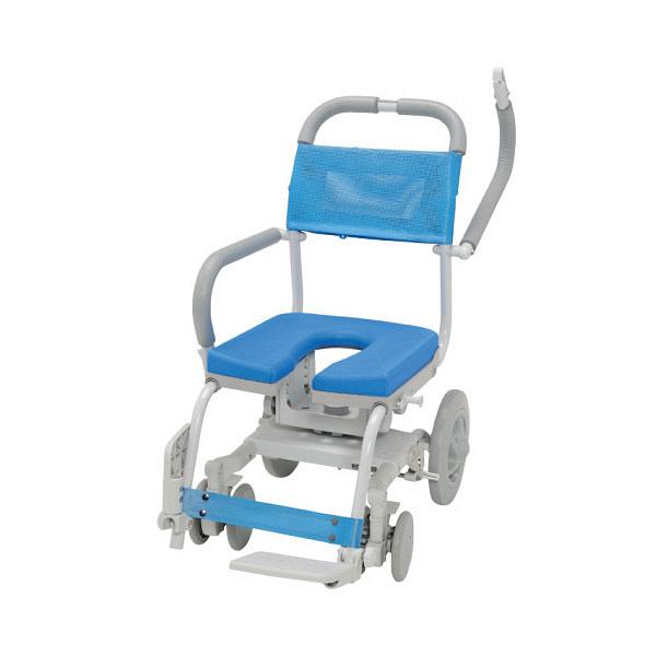 ウチヱ くるくるチェアD(U型シート) 本体 キャスター付き 肘掛け跳ね上げ式・背付き KRU-174 1台 入浴用車椅子 (直送品)