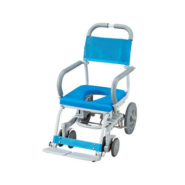 ウチヱ シャワーラク(低座型/O型シート) 本体 キャスター付き 肘掛け跳ね上げ式 SWR-100 1台 入浴用車椅子 (直送品)