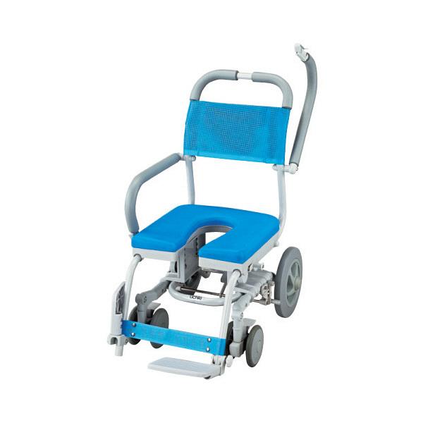 ウチヱ シャワーラク(低座型/U型シート) 本体 キャスター付き 肘掛け跳ね上げ式 SWR-102 1台 入浴用車椅子 (直送品)