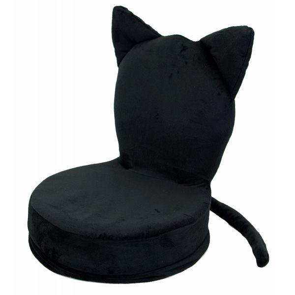 アニマル座椅子 ねこ(ブラック)
