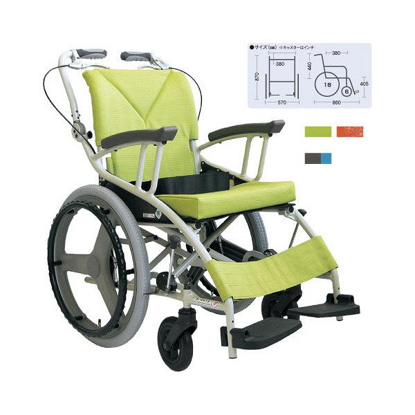 カワムラサイクル 歩行車いす 若葉色 AY18-38 自走用 背折れ式 アルミ製 介助ブレーキ付き (直送品)