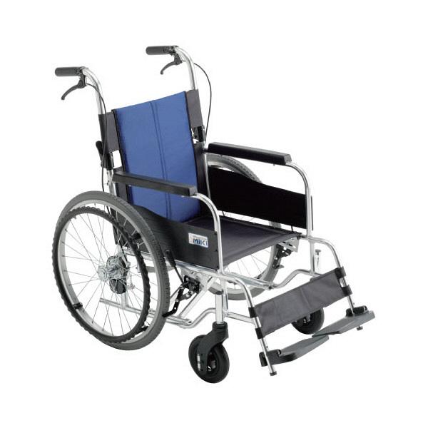 ミキ 車いす 低座面 BAL-1S 本体 400mm 自走用 背折れ式 アルミ製 介助ブレーキ付き 1台 (直送品)