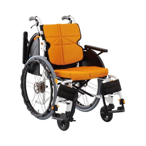 松永製作所 車いすネクストコアマルチ(タキノウ) オレンジ NEXT-31B 自走用 背折れ式 アルミ製 介助ブレーキ付き (直送品)