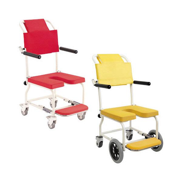 カワムラサイクル 簡易入浴用車椅子(アルミ製) キャスター付き 肘掛け・背付き レッド KSC-2 1台 (直送品)