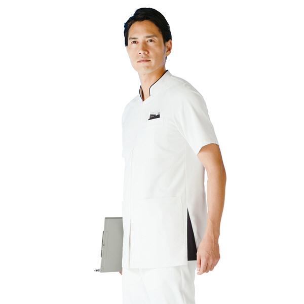 KAZEN メンズジャケット半袖 医療白衣 ホワイトXネイビー M 053-28 (直送品)